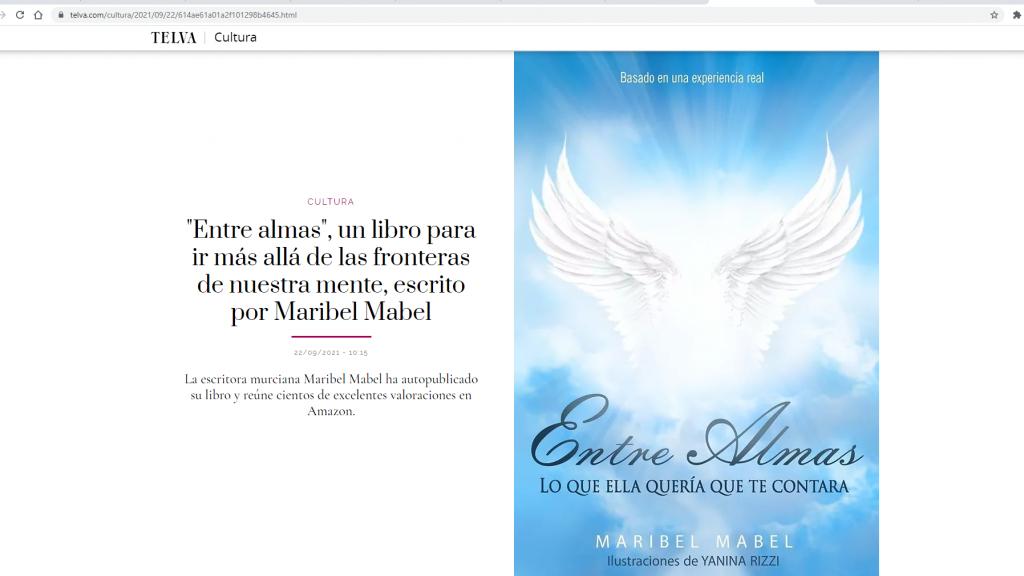 La revista Telva dedica un reportaje al libro 📖 Entre Almas de Maribel Mabel.