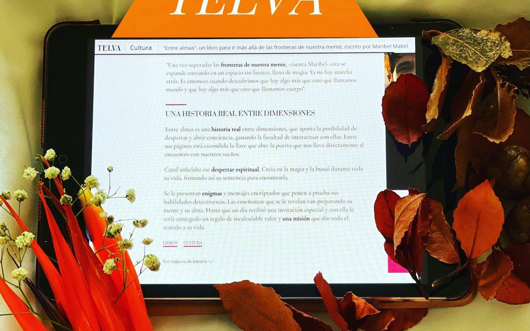 """Titular revista Telva: """"Entre Almas es un libro para ir más allá de las frontera de nuestra mente""""."""